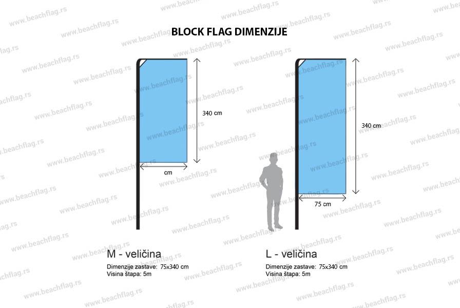Dimenzije block flag Beachflag-suza prodaja, ponuda, online kupovina