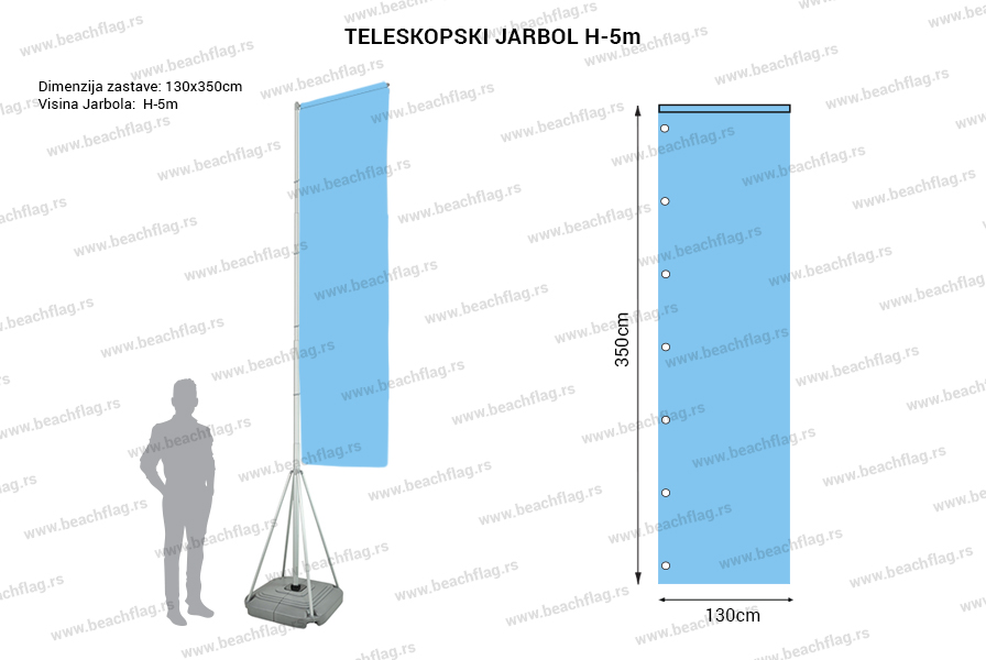 teleskopski jarbol 130x350 H 5
